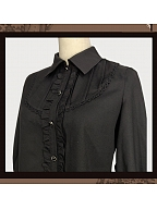 Black Long Bishop Sleeves Shirt by Souffle Song