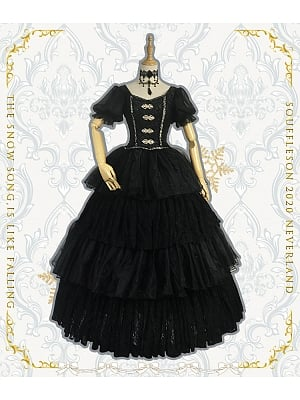 Made-to-Order Black Vintage Princess Dress with Layered Skirt - Snow Song by Souffle Song