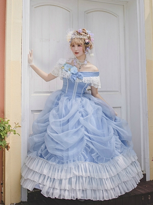 Made-to-Order Princess Wedding Dress Light Blue Hime Lolita Dress  - Princess Cinderella by Souffle Song