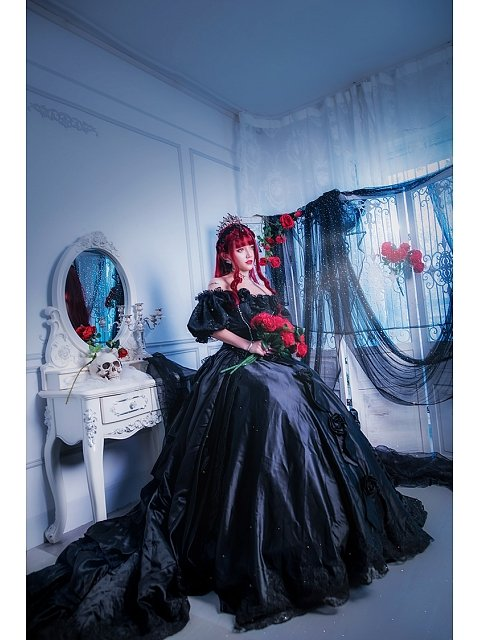 Vintage Black Victorian Ball Gown Princess Cici by Souffle Song