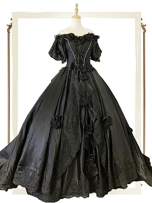 Vintage Black Victorian Ball Gown Princess Sisi by Souffle Song