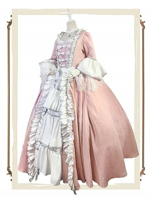 Made-to-Order Rococo Ball Gown Dress in Pink and White - Mrs Pompadour by Souffle Song Custom Size Available