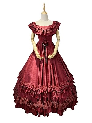 Made-to-Order Wine Red Gothic Gorgeous Vintage Dress by Souffle Song