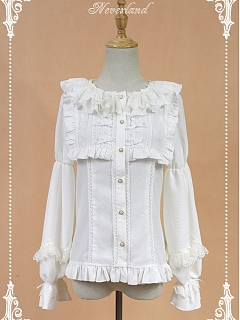 Lace Trimmed Round Neckline Ruffle Trimmed Bodice Blouse by Souffle Song