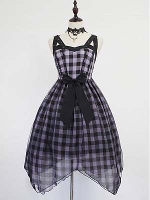 Rivet Crossed Strap Mid-Waist Plaid JSK by Souffle Song