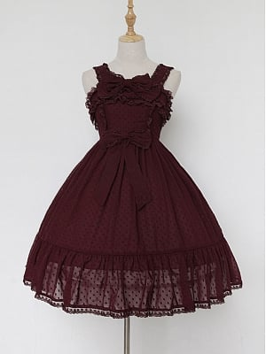 Custom Size Available Cute Solid Bowknot Decorated Neckline Empire-Waist JSK by Souffle Song