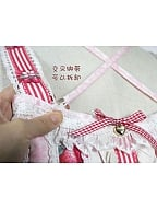 Custom Size Available Strawberry Prints High Waist Lace Up JSK By Souffle Song