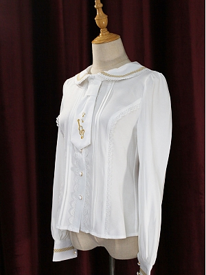 Peter Pan Collar Long Sleeves Embroidered Tie Blouse By Souffle Song