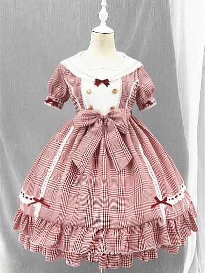 Sailor Collar Plaid OP Five Colors Available By Souffle Song