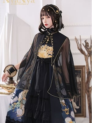 East Sun And Western Moon Deatachable Collar Grenadine Ouji Cape by Nya Nya Lolita