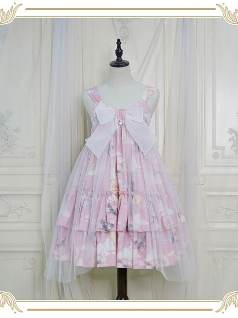 Little Spring High-waisted bow strap JSK by Nya Nya