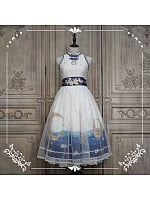 Bright Moon Rises above Sea  Sleeveless Mandarin Collar OP by Nya Nya