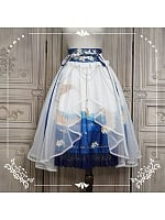Bright Moon Rises above Sea  Two-ways Skirt by Nya Nya