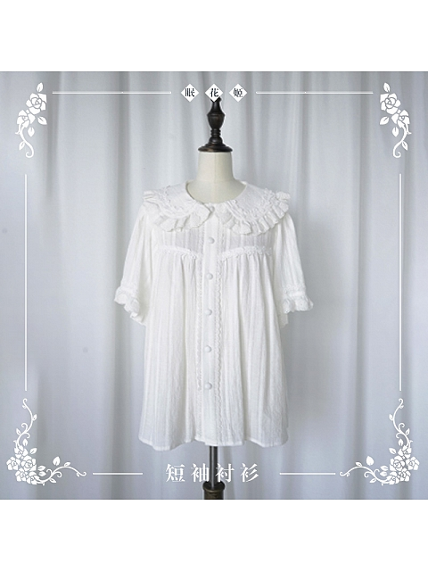 Sleeping Flower Girl Short Sleeves Blouse by Nya Nya Lolita