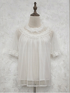 Ruffled Neckline and Sleeves Trim White Blouse - Sleeping Kitty by NyaNya Lolita