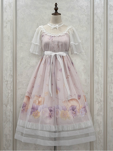 Sheer Flowy Short Sleeves Lolita OP - Sleeping Kitty by NyaNya Lolita