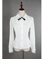 Long  Sleeves Front Buttons Decorated Lolita Shirt  - by ZhiJinYuan
