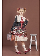 Crown Bear Black Long Sleeves Lolita Dress OP by OCELOT