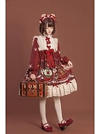 Crown Bear Wine Red Long Sleeves Lolita Dress OP by OCELOT