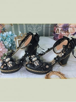 Black And Gold Hanayome Lolita Shoes by One Night Language