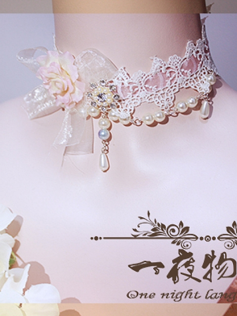 Custom Color Available Handmade Lace Choker Lolita Accessories by One Night Language