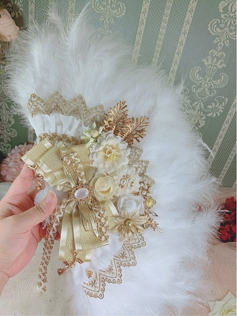 Flowers Handmade Lolita Tea Party Feather Fan by One Night Language
