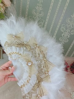 Handmade Lolita Tea Party Bowknots Feather Fan by One Night Language