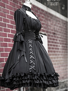 Realm of Black Gothic Lolita OP and Cloth Corset by Ouroboros
