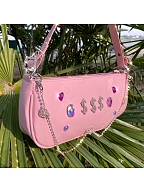 Heart Pink Shiny Baguette Bag by KRAFTWERK