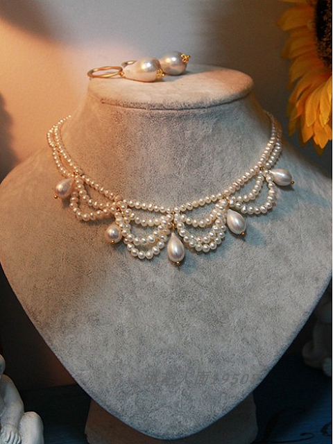 Natural Pearls Handmade Drop-shaped Pendant Vintage Necklace by 1950s