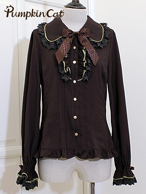 Chocolate Printing Blouse by Pumpkin Cat