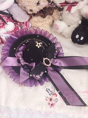 Artificial Gem Bowknot Handmade Devil Lolita Witch Hat by Pearl Bunny