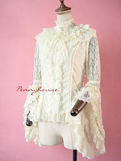 Preorder Removable Stand Collar Gorgeous Lace Trimmed Blouse by Pennyhouse
