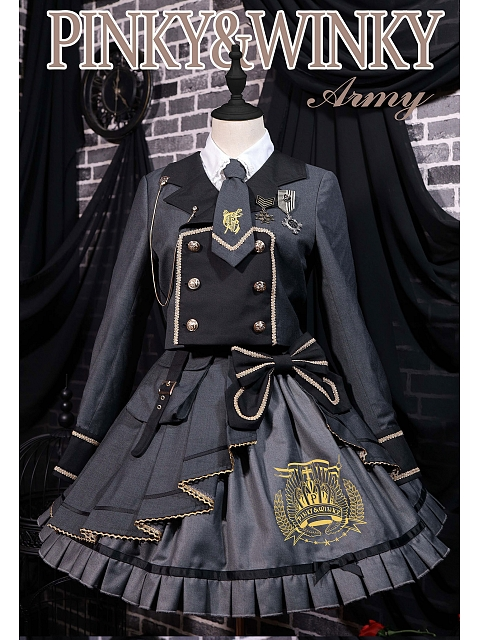 Army Skirt and Coat Set by Pinky Winky
