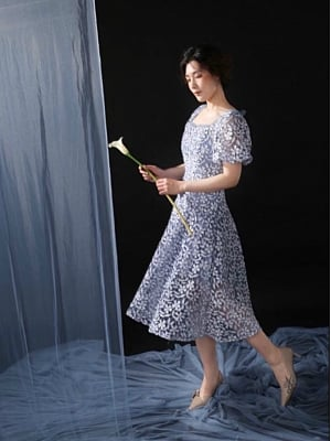 Floral Lace Sheer Bubble Sleeves Vintage Slim Dress
