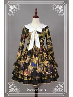 Long Sleeves Pretty Sailor Collar Lolita OP Dress - Picture Frames by Souffle Song