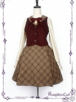 Waistcoat and Plaid Skirt Set by Pumpkin Cat