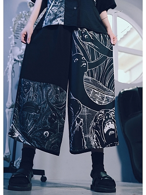 Quirky Hut and Junji Ito Collaboration Tomie Loose Pants by Quirky Hut