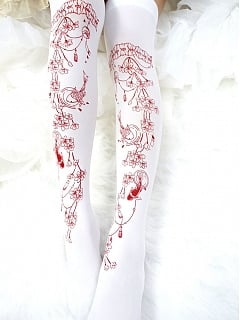 Cherry blossoms Printed Gold-plated Over-Knee Stockings by Reina