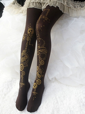 Steampunk Gear Brown Gilt Printed 120D Pantyhose by Reina