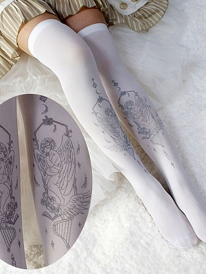 Gilt Over knee Angel AB Printing Stockings by Reina
