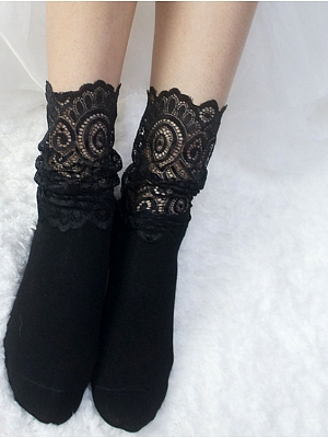 Girlish Black Lace Patchwork Cotton Socks by Reina