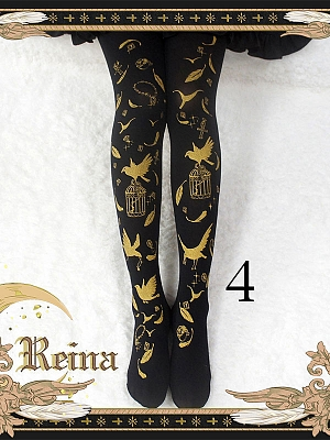 Bronzing + Plume Cage +120D Velvet Printing Pantyhose by Reina