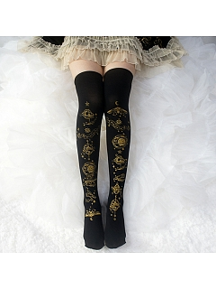 Horoscope Printed Over-knee Stockings by Reina