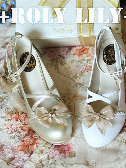Sheen Shell Cross-Straps Low Heels by Roly Lily
