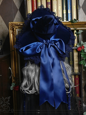 Dark Blue Velvet Halloween Witch Hat by Rose Thorn