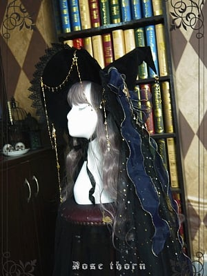 Witch's Astrology Halloween Witch Hat Shiny Veil by Rose Thorn