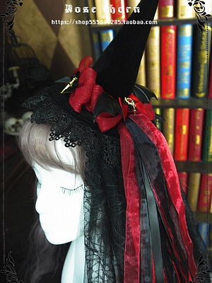 Bats Cross Halloween Velvet Witch Hat by Rose Thorn
