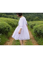 Loose Fitting Two-Tone Striped OP with Two-Way Neckline by Sansa Store