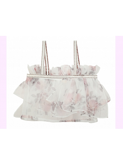 Floral Organza Short Top with Embroidered Ribbon Straps by Sansa Store